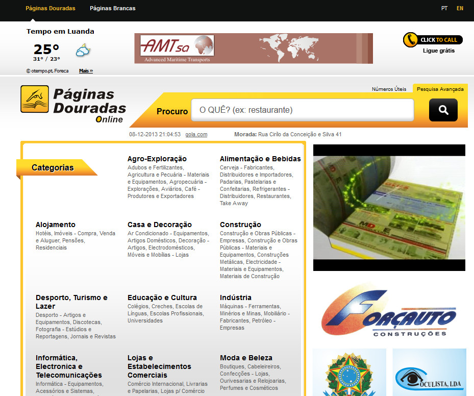 Paginas Douradas Angola
